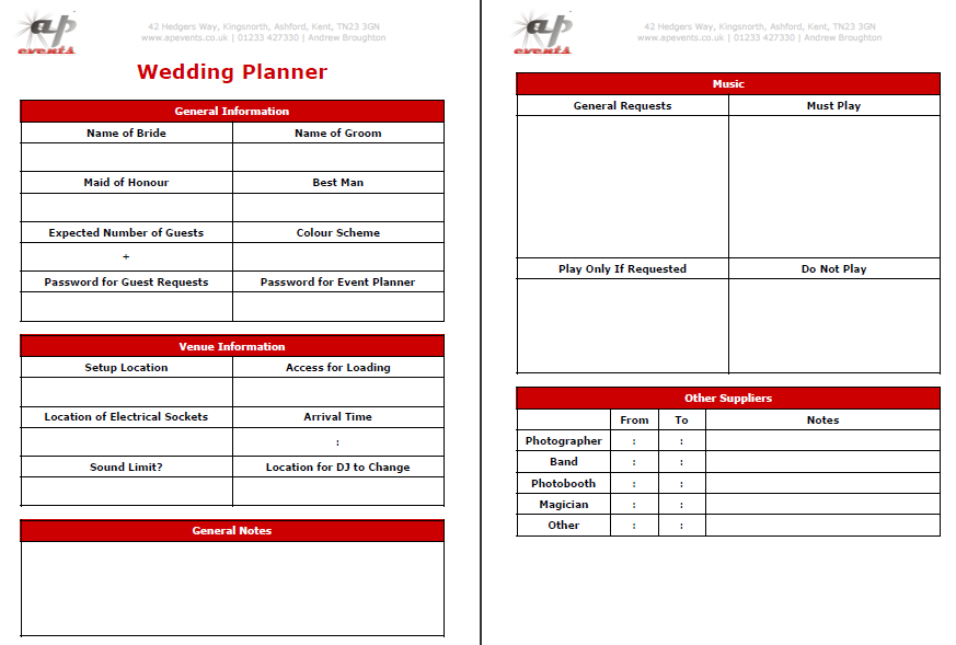 Wedding Planner Form