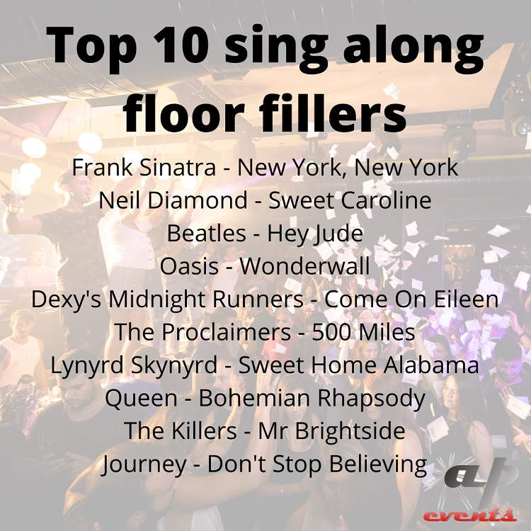 Top 10 sing along floor fillers
